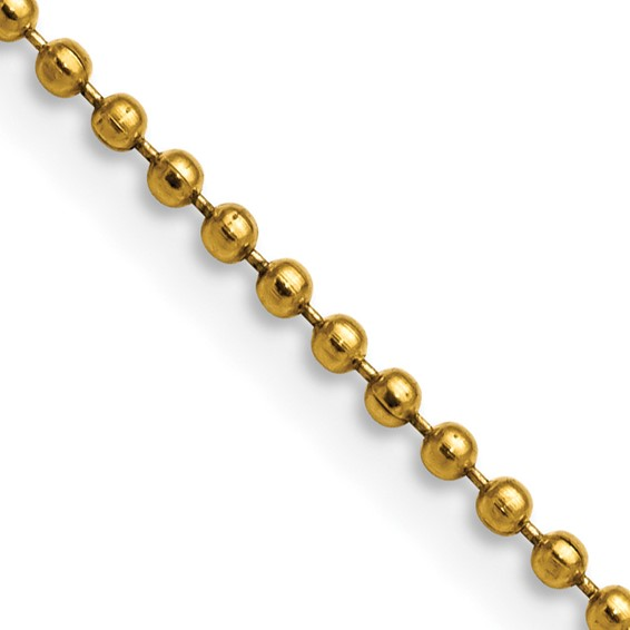 22in Stainless Steel Gold-Plated Ball Chain 2mm