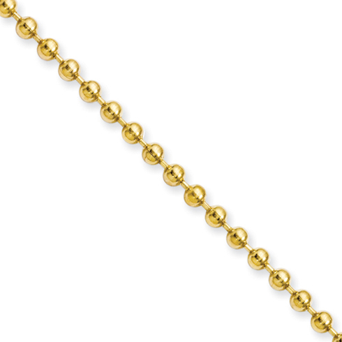 18in Stainless Steel Gold-Plated Ball Chain 3mm