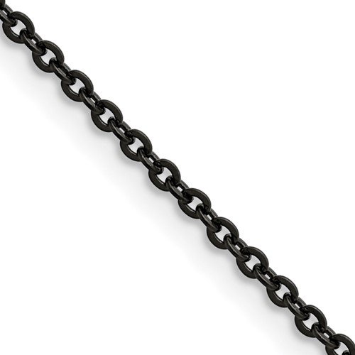20in Stainless Steel Black-Plated Cable Chain 2.3mm