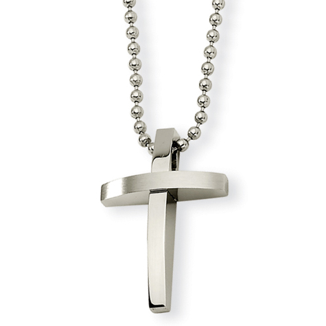 Stainless Steel 1in Brushed Cross on 18in Necklace