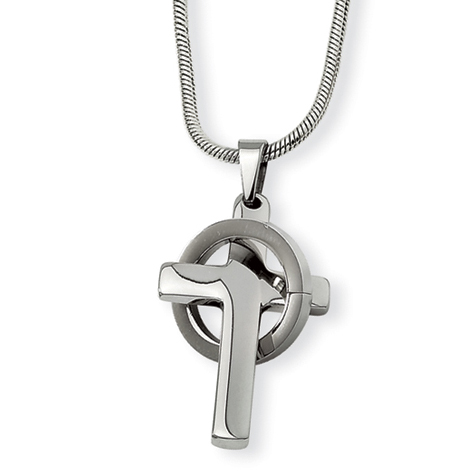 Stainless Steel 1in Cross in Circle on 18in Necklace
