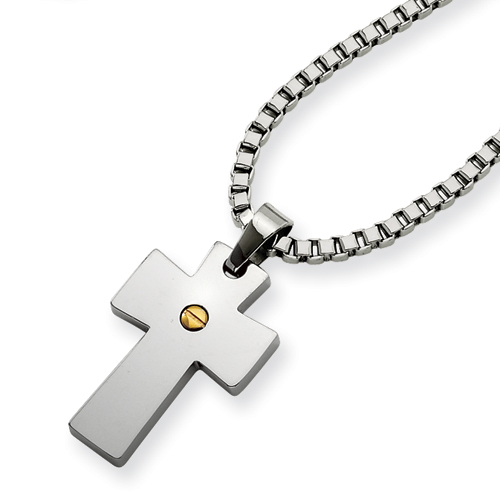 1in Stainless Steel and IP-plated Cross Pendant Necklace 18in