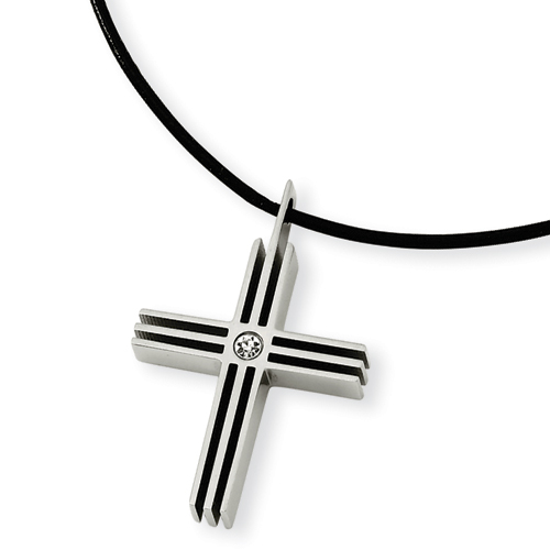 Stainless Steel CZ Cross Necklace 18in