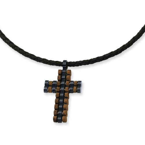 Stainless Steel Wood and Black Cross on 18in Black Leather Cord