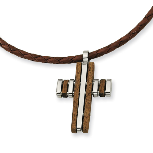 Stainless Steel Wood Accent Cross Necklace 18in