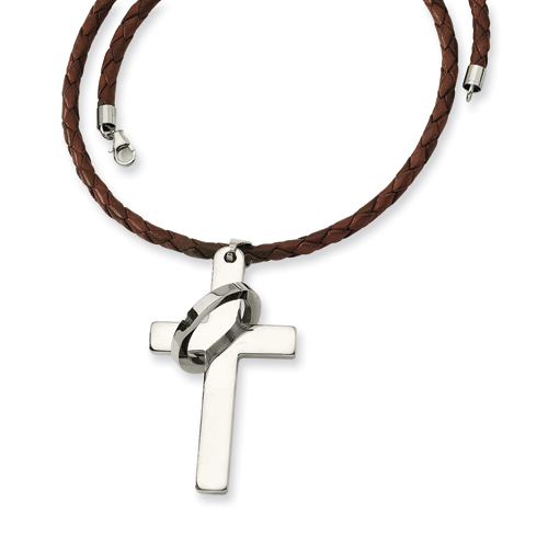 Stainless Steel Cross Leather Necklace 18in
