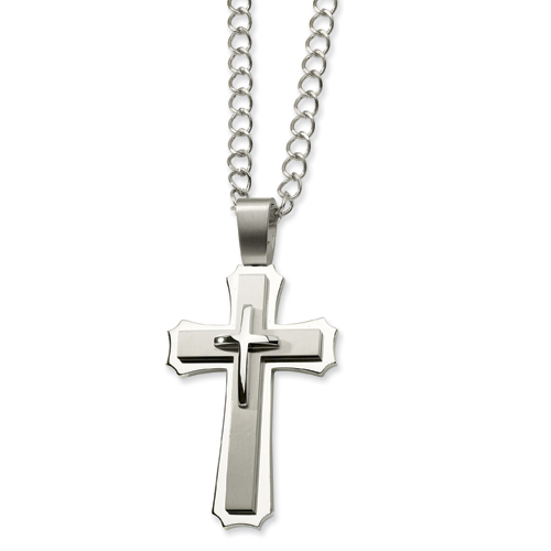 Stainless Steel Jumbo 3 1/4in Cross with 24in Chain