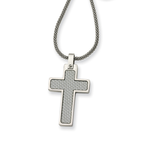 Stainless Steel 1 1/4in Gray Carbon Fiber Cross on 20in Chain