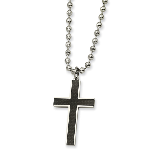 2 1/8in Stainless Steel Carbon Fiber Cross Necklace 22in
