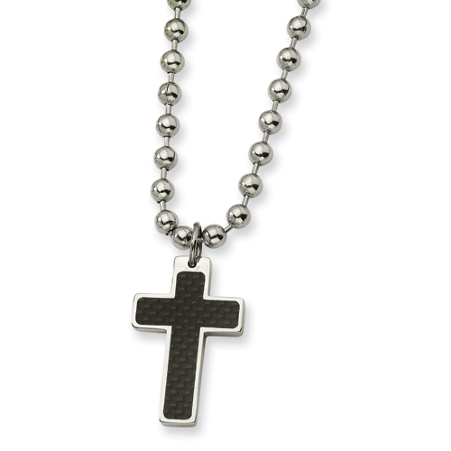 Stainless Steel 1 1/4in Carbon Fiber Cross on 20in Chain
