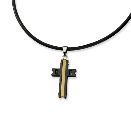 Stainless Steel 1 1/2in Gold & Black Plated Cross 18in Necklace