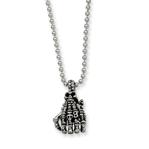 Stainless Steel Skull Hand Necklace 22in