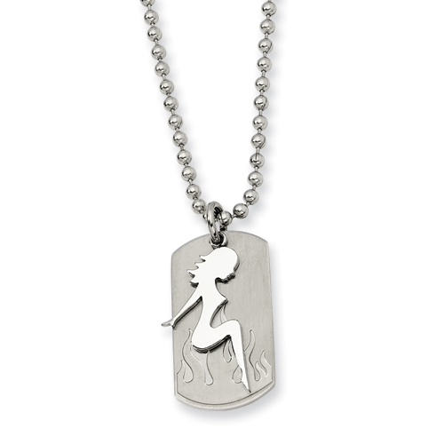 Stainless Stell Girl Dog Tag Necklace 22in