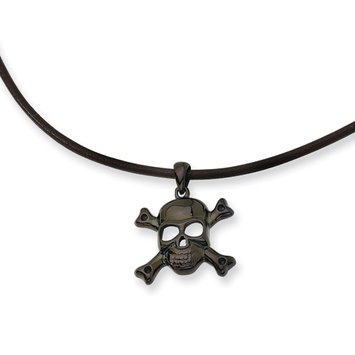 Black-plated Stainless Steel Skull Necklace 18in