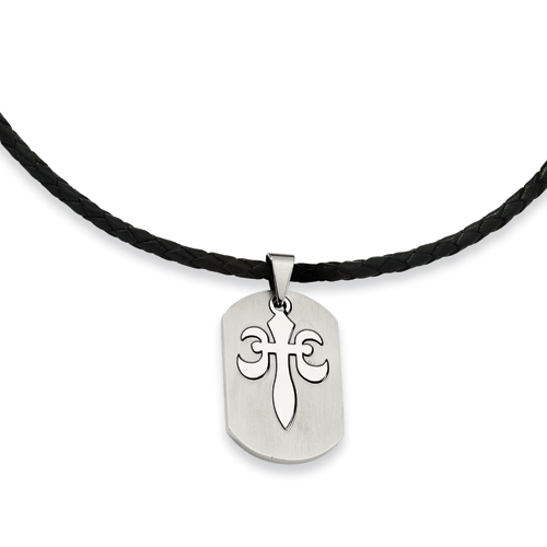 Stainless Steel Fleur De Lis Necklace 18in