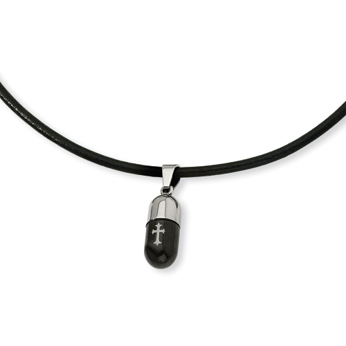 Stainless Steel Cross Capsule Necklace 18in