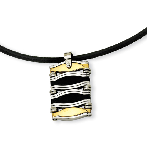 Stainless Steel Bar Gold Plated & Rubber Necklace 18in