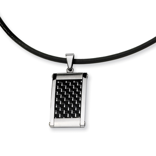 Stainless Steel Silver & Black Carbon Fiber Necklace 18in