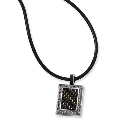 Stainless Steel Gold & Black CZ Carbon Fiber 22in Necklace