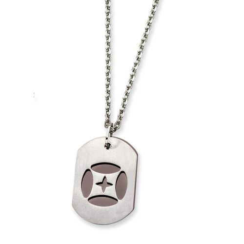 Stainless Steel Chocolate Dog Tag 22in Necklace