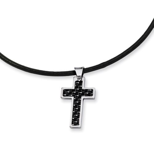 Stainless Steel 1 1/8in Carbon Fiber Cross 18in Necklace