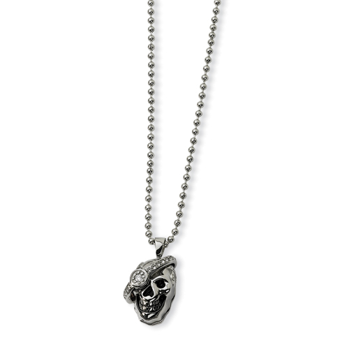 Stainless Steel Skull with Diamond Necklace 24in