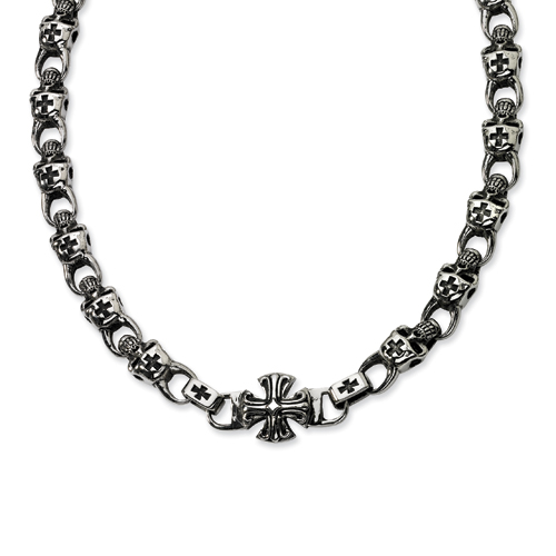 Stainless Steel Skull Necklace 24in