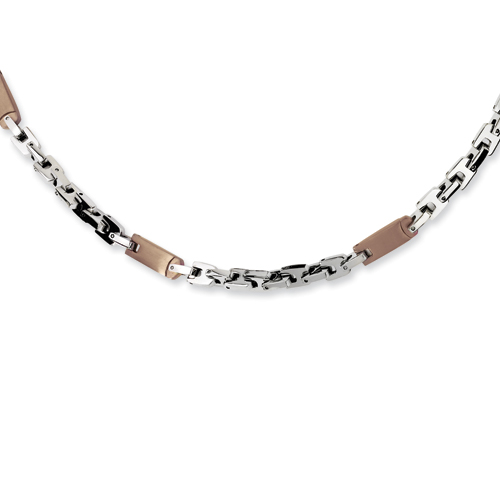 Stainless Steel Chocolate Plated Necklace 24in