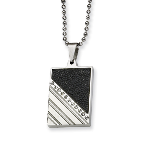 Stainless Steel and Stingray Leather with CZ 24in Necklace