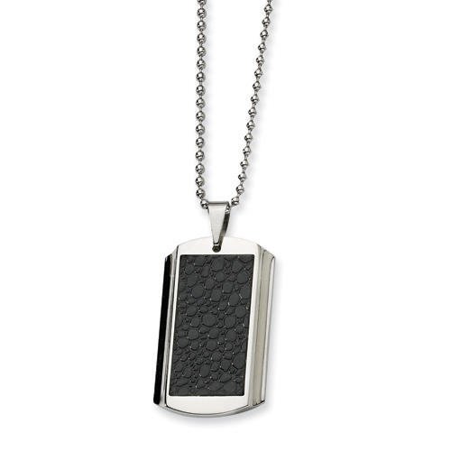 Stainless Steel and Stingray Patterned Dog Tag Necklace 24in