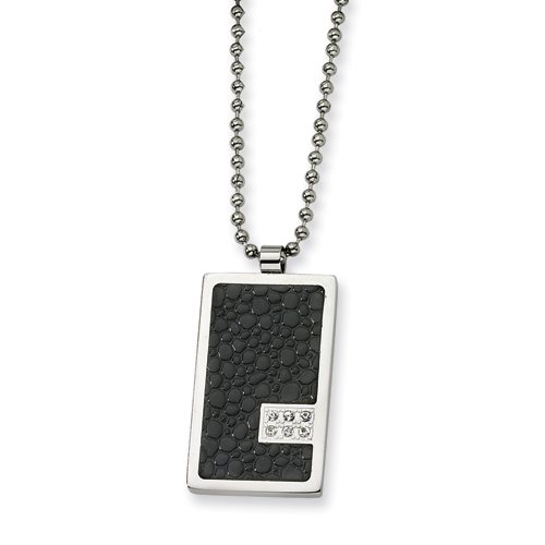 Stainless Steel and Stingray Patterned with Diamond Necklace 24in