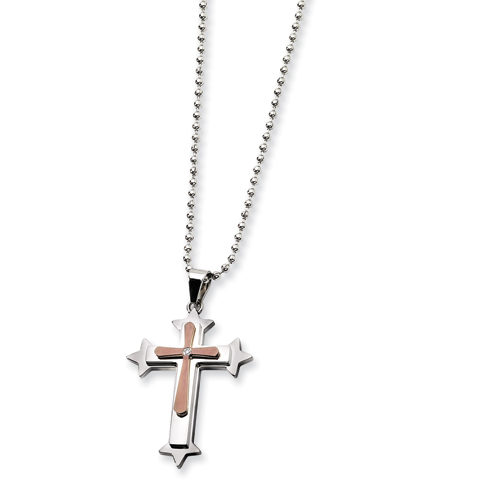 Stainless Steel and Chocolate CZ Cross Necklace 24in