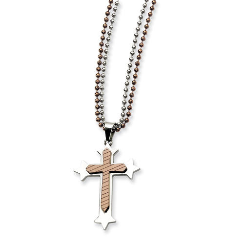 Stainless Steel and Chocolate IP-plated Cross Necklace 24in