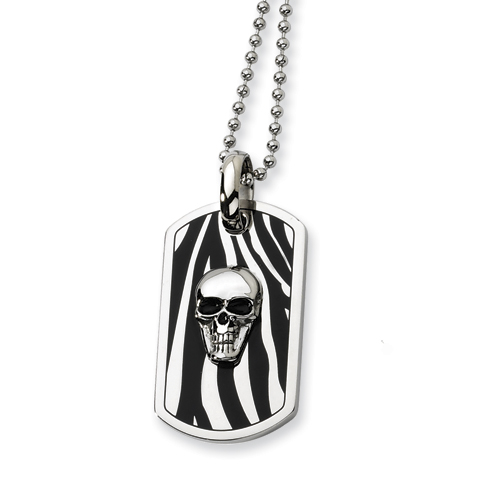 Stainless Steel Enameled Skull Dog Tag Necklace 24in