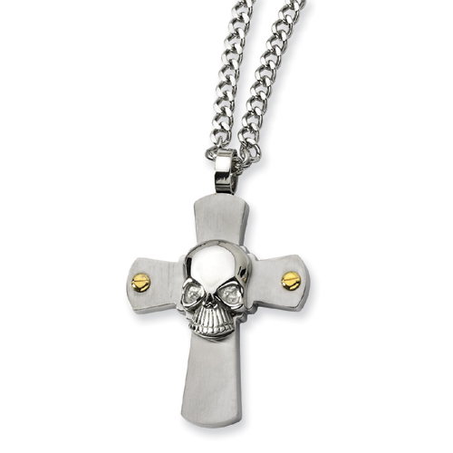 Stainless Steel 2in Skull on Cross 24in Necklace