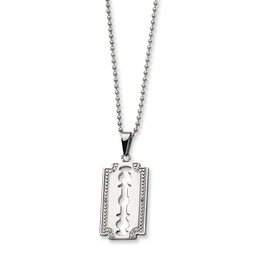 Stainless Steel and Diamond Razor Blade 24in Necklace