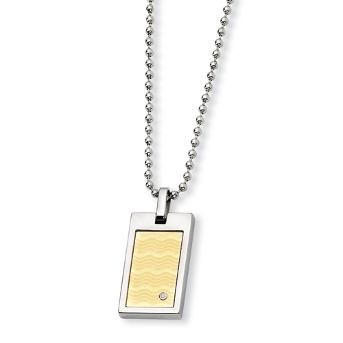 Stainless Steel and 18k with Diamond Necklace 24in