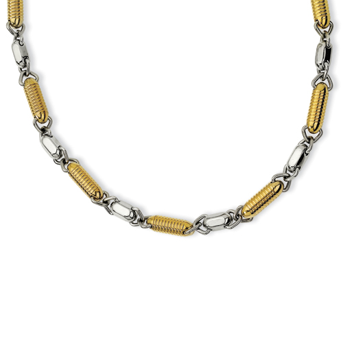 Stainless Steel and Gold Plated Barrel Link 22in Necklace