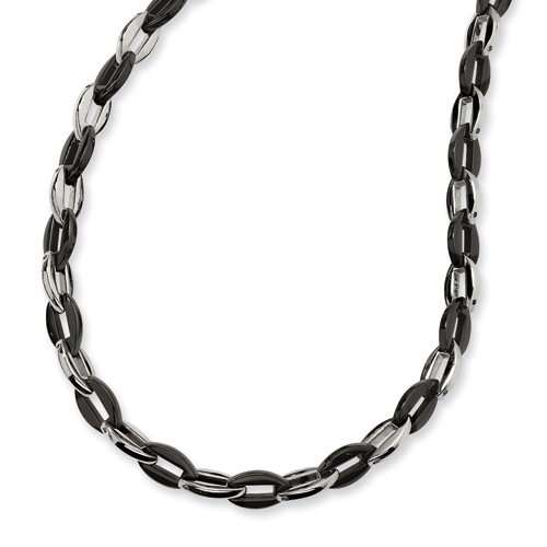 Stainless Steel and Black Color Plated Necklace 24in