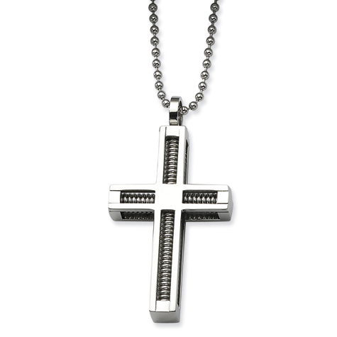 Stainless Steel 1 1/2in Threaded Cross on 24in Necklace
