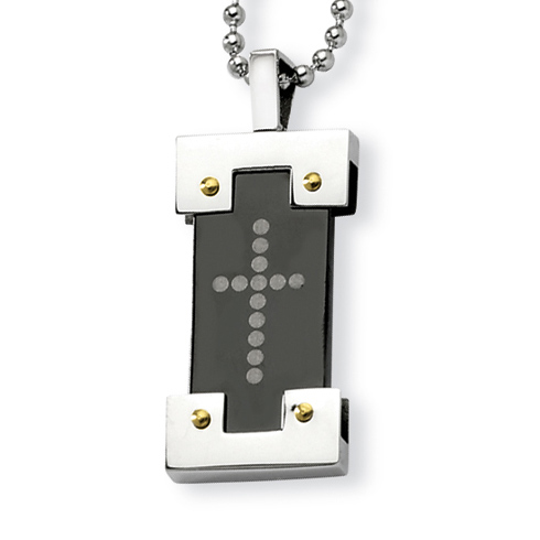 Stainless Steel 1 1/8in Black and Gold Plated Cross Necklace