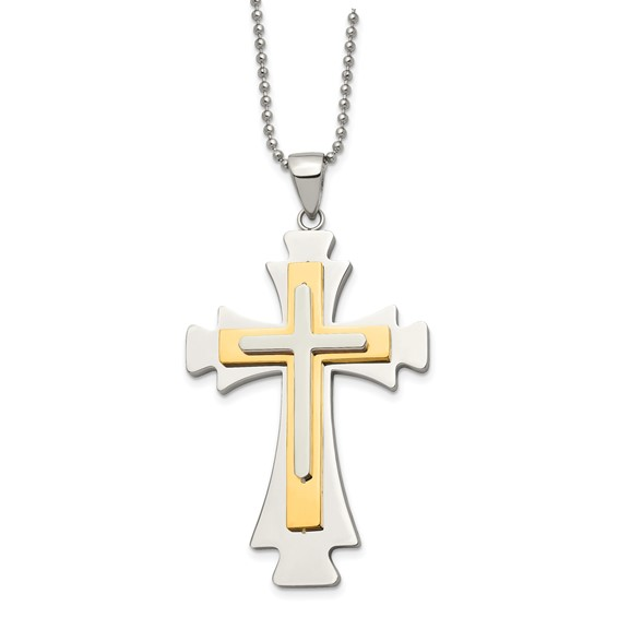 Stainless Steel 2 3/8in Gold-Plated Cross on 22in Necklace