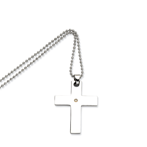 Stainless Steel 1 1/2in Cross with Diamond Accent on 24in Necklace