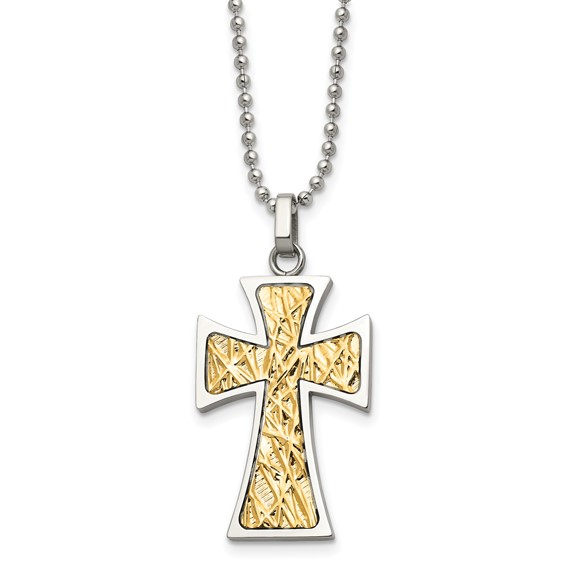 Stainless Steel 1 1/4in 14kt Yellow Gold Accent Cross on 22in Necklace