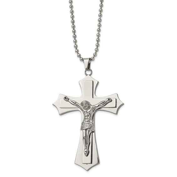 Stainless Steel 2 1/2in Pointed Crucifix Necklace