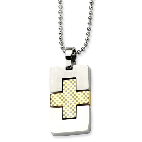 Stainless Steel 1 1/8in Gold-plated Dog Tag Cross Necklace