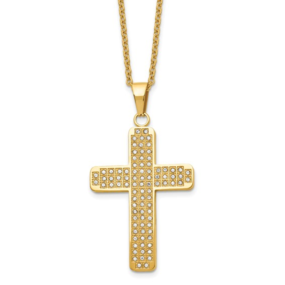 Stainless Steel 1 3/4in Yellow-Plated CZ 22in Cross Necklace