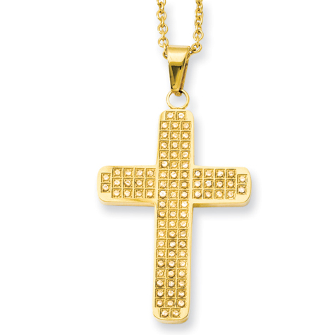 Stainless Steel 1 3/4in Yellow-Plated Cubic Zirconia Cross on 22in Necklace