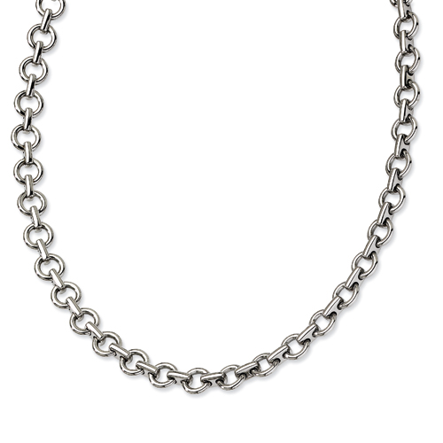 Stainless Steel Polished Circle Link Necklace 20in
