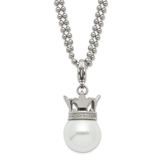 Stainless Steel 22in Simulated Pearl Crown Necklace